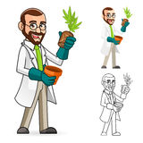 Botanico Cartoon Character Inspecting le radici di una pianta Immagini Stock Libere da Diritti