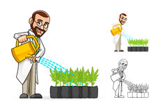 Botanico Cartoon Character Watering le piante Fotografie Stock