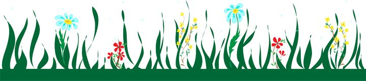 Botaniczna bezszwowa granica z kwiatami i liśćmi, kwiecisty wzór ilustracji