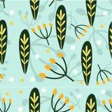 Botaniczna ilustracja bezszwowy wzór E Tkanina projekt, tapeta, tkaniny, książki, p royalty ilustracja
