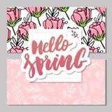 Botaniczna karta z dzikimi kwiatami, li?cie Wiosna ornamentu poj?cie Kwiecisty plakat, zaprasza Wektorowego uk?adu dekoracyjna ka ilustracja wektor