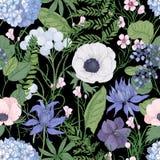Botaniczny bezszwowy wzór z pięknymi dzikimi kwitnienie kwiatami wręcza patroszonego na czarnym tle Tło z eleganckim Obrazy Royalty Free
