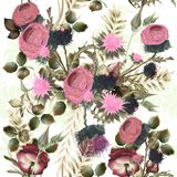 Botaniczny kwiecisty wzór z polem kwitnie dla projekta Ideał fo ilustracji