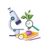 Botanik Kit With Microscope And Plant im Topf, Satz der Schule und Bildungs-in Verbindung stehende Gegenstände in der bunten Kari vektor abbildung