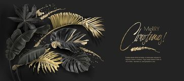 Botanik-Weihnachtskarte der tropischen Blätter schwarze Gold vektor abbildung