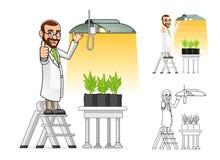 Botaniker Cartoon Character Hanging ein Wachsungs-Licht Stockbilder