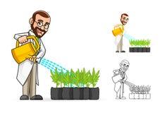 Botaniker Cartoon Character Watering die Anlagen Stockfotos