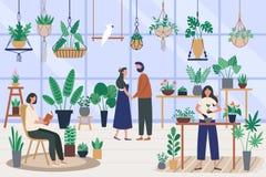 Botanikerväxthus Väx växter och planterhobbyen, plantera houseplanten Vänner som spenderar tid på orangerivektorn royaltyfri illustrationer