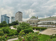 Botanique in brussels. Botanique - big garden in center of brussels near metro Botanique in cloudy day Stock Image