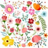Botanisch bloemenvierkant als achtergrond Royalty-vrije Stock Afbeeldingen
