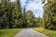 Botanisch park met een reeks bomen stock afbeeldingen