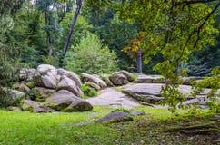 Botanisch park met een reeks bomen royalty-vrije stock fotografie
