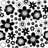 Botanisch zwart-wit naadloos patroon Royalty-vrije Stock Afbeeldingen