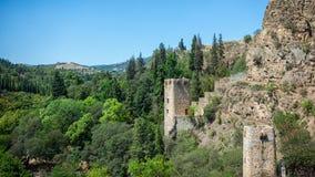 Botanische Gärten von Tiflis, Ansicht von Narikala-Festung Lizenzfreies Stockbild