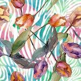 Botanische mit Blumenblumen der roten purpurroten Tulpe Aquarellhintergrund-Illustrationssatz Nahtloses Hintergrundmuster stock abbildung