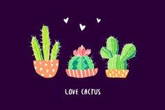 Botanische prentbriefkaar met kleurencactus en harten op zwarte achtergrond Succulent in krabbelstijl Vector Royalty-vrije Stock Afbeeldingen