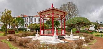 Botanische Tuin 'Jardim Florencio Terra 'in Horta bij eiland Faial, de Azoren stock foto