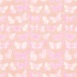 Botanischer Illustrationshintergrund des rosa und purpurroten Schmetterlinges mit Skript Lizenzfreie Stockfotos