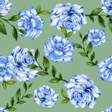 Botanischer Kranz von grünen Niederlassungen und von Blattblumenmuster Lizenzfreie Stockbilder