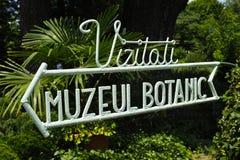 Botanisches Museums-Zeichen Bukarests Lizenzfreie Stockbilder