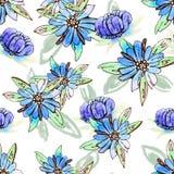 Botanisches nahtloses mit Blumenmuster des Aquarells Gut für den Druck Lizenzfreies Stockbild