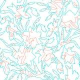 Botanisches nahtloses Muster mit Konturnhandgezogenen Blumennarzissen lizenzfreie stockfotos