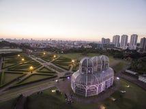 Botanisk trädgård för flyg- sikt, Curitiba, Brasilien Juli 2017 arkivfoto