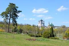 Botanisk trädgårdlandskap med sikt på ortodox kyrka arkivbilder