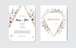 Botaniska blommor för design, för vit och för rosa färger för mall för bröllopinbjudankort Vektormalluppsättning vektor illustrationer