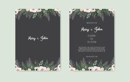 Botaniska gifta sig blommor för design för mall för kort för inbjudan vita och rosa, på vit bakgrund royaltyfri illustrationer