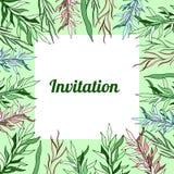 Botaniskt blom- anbud för inbjudan för vårmallkort royaltyfri illustrationer