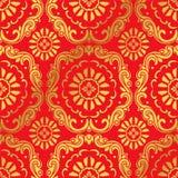 Botaniskt spiralt kurvkors Fl för sömlös guld- kinesisk bakgrund Fotografering för Bildbyråer