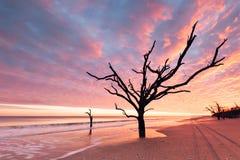 Botany Bay beach at cloudy sunset Stock Photo