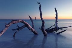 Botany Bay beach at cloudy sunset Royalty Free Stock Image