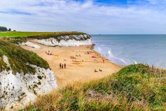 Botany Bay a golden beach on the Thanet, Kent. Coast on the south east coast of England. Botany Bay is the northernmost of seven bays in Broadstairs royalty free stock photography