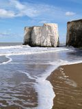 Botany Bay in Kent, English Beach. White Chalk Cliffs of Botany Bay near broadstairs on the South East Kent Coast of England. beautiful empty sand beach on a royalty free stock photos