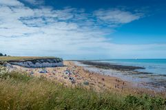Sunny weather brought tourists and visitors to Botany Bay Beach near Broadstairs. Botany Bay, Kent, United Kingdom - August 14, 2016 : Sunny weather brought royalty free stock photography