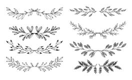 Set floral hand drawn black elements for frames on white background vector illustration