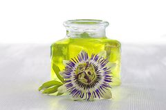 Botany -passion flower essential oil. For perfume royalty free stock images