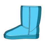 Botas azuis do ugg do inverno morno Sapatas confortáveis do inverno para o desgaste diário As sapatas diferentes escolhem o ícone ilustração stock