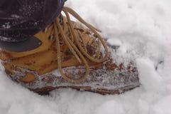 Botas a campo través en la nieve Imagenes de archivo