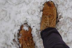 Botas a campo través en la nieve Fotografía de archivo libre de regalías