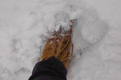 Botas a campo través en la nieve Fotografía de archivo