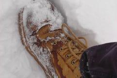 Botas a campo través en la nieve Imágenes de archivo libres de regalías