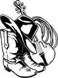 Botas corda e Fiddle Illustration do chapéu ilustração stock