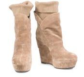 Botas da camurça das senhoras com legging integral Foto de Stock
