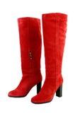 botas da forma botas até o joelho vermelhas isoladas Fotografia de Stock Royalty Free