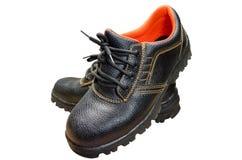 Botas de aço pretas de Toe Safety fotografia de stock