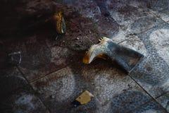 Botas de borracha velhas no assoalho sujo Imagens de Stock Royalty Free