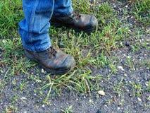 Botas de Brown en hierba verde Fotos de archivo